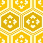 黄色の亀甲柄パターン