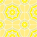 黄色の蜘蛛の巣のような幾何学模様パターン