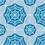 青色の蜘蛛の巣のような幾何学模様パターン