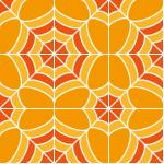 オレンジ色の蜘蛛の巣のような幾何学模様パターン