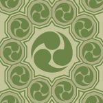 緑色の巴紋が幾何学的につながるパターン