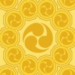 黄色の巴紋が幾何学的につながるパターン