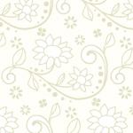 白い植物イラストパターン