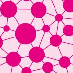 ピンク色のドットとラインがつながるパターン
