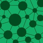 緑色のドットとラインがつながるパターン