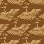 茶色の鶴のイラスト和柄パターン