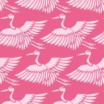 ピンク色の鶴のイラスト和柄パターン
