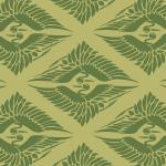 緑色の菱形鶴の和柄パターン