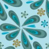 青色のポップなペイズリー柄パターン