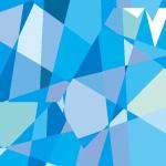 青いランダムな多角形が並ぶパターン