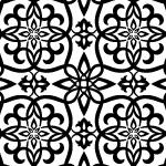 白黒のアラベスク柄パターン