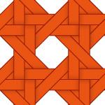 オレンジ色のバスケット編み柄パターン