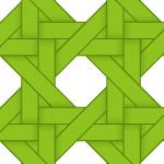 緑色のバスケット編み柄パターン