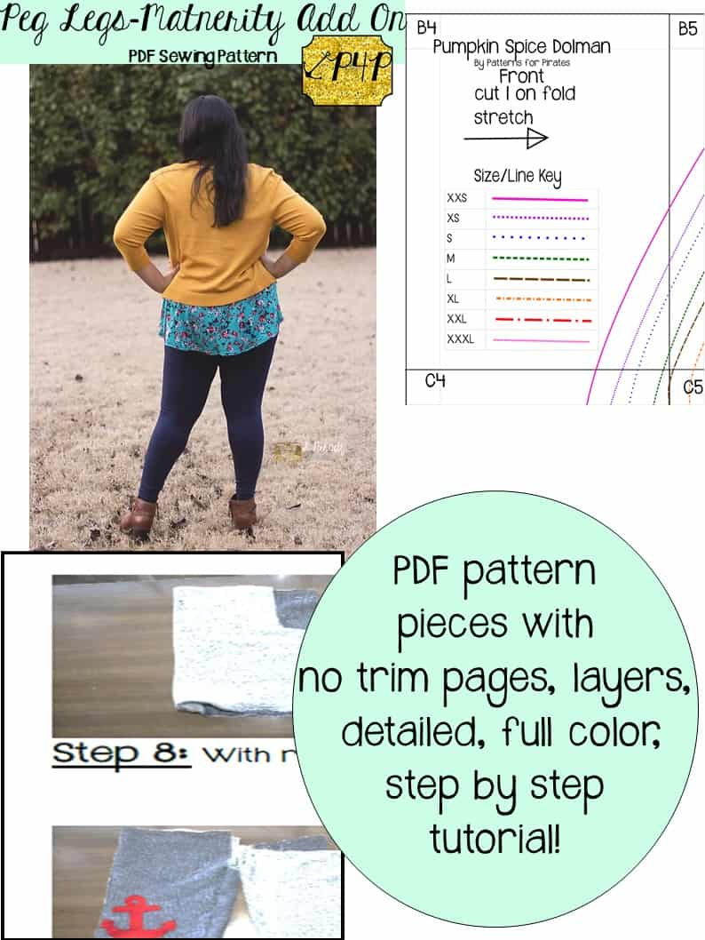 Peg Legs- Maternity Add On - Patterns for Pirates