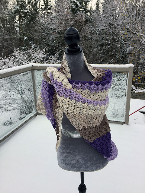 Warm C2C Shawl Crochet Pattern