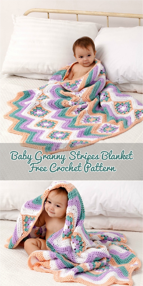 Caron Baby Granny Stripes Blanket