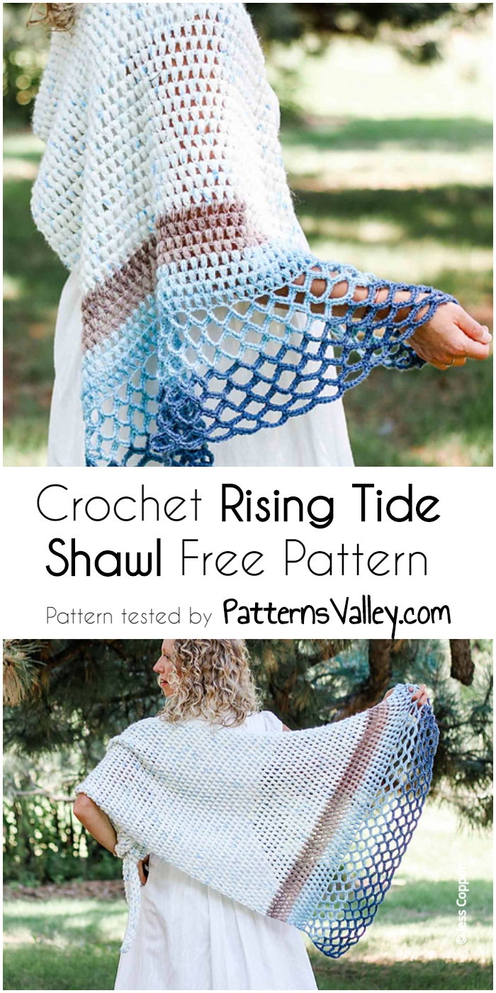 Crochet Rising Tide Shawl Free Pattern Patterns With Diagrams