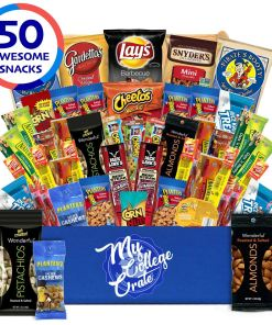 My College Crate Man Box Ultimate Men's Snack Care Package for College Students – Variety Assortment of Pretzels, Chips, Jerky & Nuts – 50 Snacks – College Survival Kit