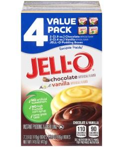 Jell-O Chocolate and Vanilla Instant Pudding Mix, 4 ct – 14.0 oz Box