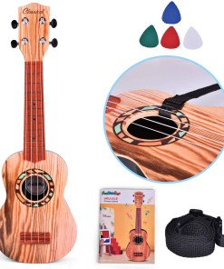 21 Inch Ukelele for Kids, Musical Instroments for Kids with Strap, Picks and Tutorial, Learning Educational Toys Gifts for Boys & Girls (Burlywood) F-478