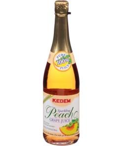 Kedem Sparkling Peach Grape, 100% Juice, 25.4 fl oz, (Pack of 12)