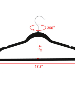 100X 360 Degree Non Slip Velvet Clothes Suit/Shirt/Pants Hangers Black 17.72 × 9.29 × 0.2 inch, Capacity 5 Lb