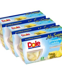(3 Pack) Dole Fruit Bowls No Sugar Added Pineapple Tidbits in 100% Fruit Juice, 4 Oz Fruit Bowls, 4 Cups of Fruit