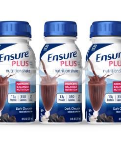 Ensure Plus Nutritional Shake, 13g Protein, Rich Dark Chocolate, 8 fl oz, 24 count