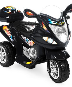 Best Choice Products 6V Kids Battery Powered 3-Wheel Motorcycle Ride On Toy w/ LED Lights, Music, Horn, Storage – Black