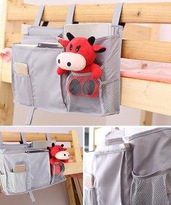 BeautyTale Bedside Caddy, 8 Pockets Hanging Storage Bag Organizer Holder for Bunk Dorm Rooms & Hospital Bed Rails–Grey