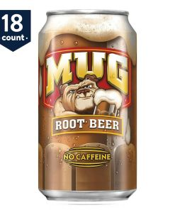 18-PACK Mug Root Beer No Caffeine Soft Drink Cola, 12 oz Cans