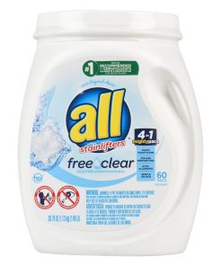 all Mighty Pacs Free Clear For Sensitive Skin, 60 Loads, Unit Dose Laundry Detergent