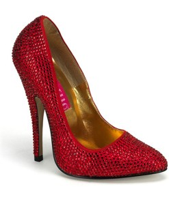5 1/2 Inch Heel Sexy High Heel Pump Shoes Red Rhinestone Shoe