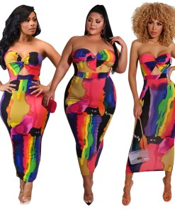 Sexy Printed Strapless Maxi Long Dress Women Summer Plus Size Sleeveness Neon Outfit  Club Night Party Bodycon Sheath Dresses