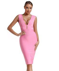 2020 Bandage Dress Evening Party Dress Summer Women Pink Bandage Dress Mini Club Cut Out Sexy Bodycon Dress