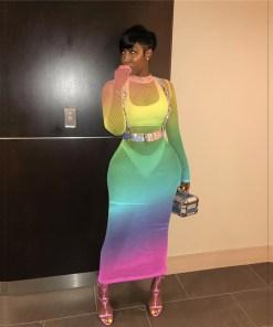 Changing Color Fishnet Women Summer Dress O Neck Long Sleeve Bodycon Maxi Night Club Party Dresses Beach Tunic Vestidos