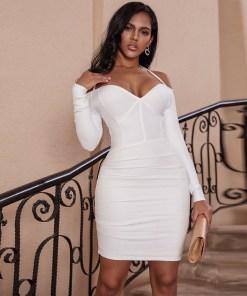 Long Sleeve Bandage Dress 2020 Draped White Bandage Dress Off the Shoulder Bodycon Celebrity Evening Party Club Dress