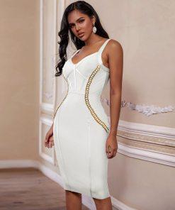 Bandage 2020 New Arrival Chain Embellished Women White Bandage Dress Bodycon Celebrity Evening Club Party Dress