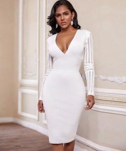White Bandage Dres New Winter Long Sleeve Bandage Dress Bodycon V Neck Women Sexy Party Dress Club Evening