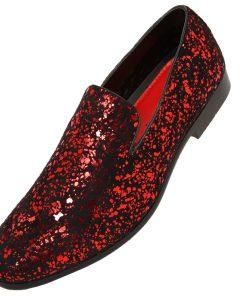 Amali Mens Metallic and Studded Smoking Slipper Loafer Dress Shoes
