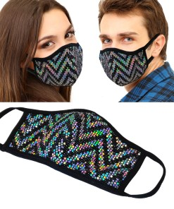 1Pcs unisex Cloth shiny Mesh Sequin Metallic face mask Protect Reusable Comfy Washable Made In USA masks