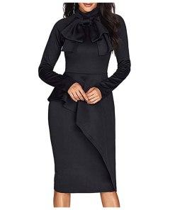 2020 Dress Women's Bow Tie Neck Long Sleeve Peplum High Waist Formal Dresses Solid Slim Fit Office Work Dress Vestidos