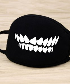 Men Women Riding Cotton Mask Dust-proof Fashion Black Facial Expression Teeth Warm Mask KZ-3015