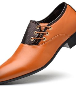 Men's Formal Shoes PU Fall / Winter Business Oxfords Black / Yellow / Brown / Party & Evening / Split Joint / Party & Evening / Dress Shoes / EU40