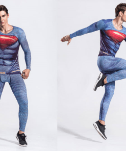 Superman fitness tights suit male long-sleeved Spider-man Captain America running cycling speed dry breathable clothes