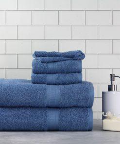 Mainstays Basic Bath Collection – 6-Piece Bath Set, Solid Blue