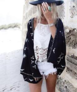 Summer Seaside Blouse Chiffon Cardigan Voile Jacket (One size)