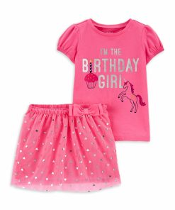 Child of Mine by Carter's Baby Girls and Toddler Girls Birthday T-Shirt & Tutu Skirt, 2-Piece Outfit Set