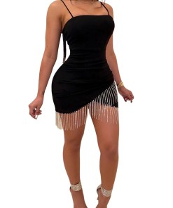 Womens Bodycon Tassels Evening Party Cocktail Club Bandage Short Mini Dress
