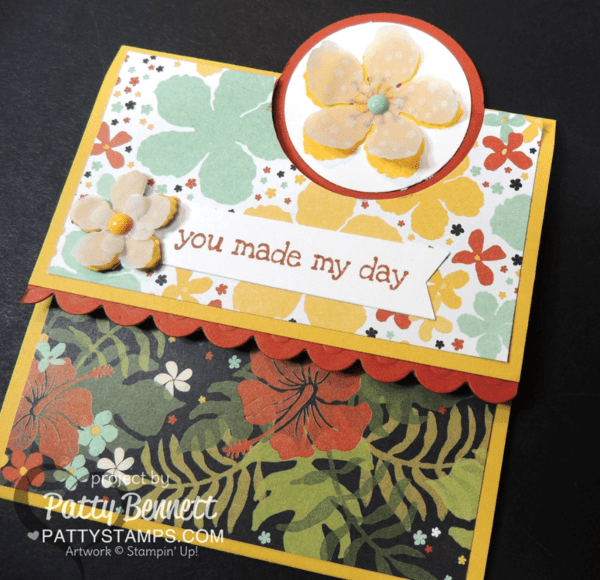 "Stampin Up cards - fun fold with 2"" circle punch.  Botanicals stamp set, paper and framelits cards. by Patty Bennett at pattystamps.com"